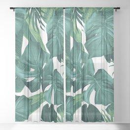 Tropical Summer Jungle Leaves Dream #2 #tropical #decor #art #society6 Sheer Curtain