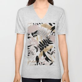 Pink black white faux rose gold brushstrokes floral Unisex V-Neck