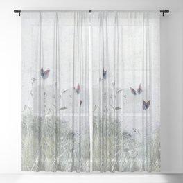 A Spell for Creation - butterflies amongst grass Sheer Curtain