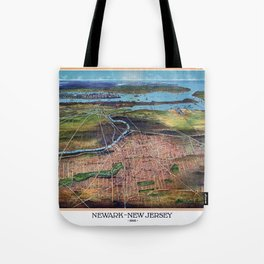 NEWHARK NEW JERSEY city old map Father Day art print poster Tote Bag