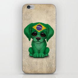 Cute Puppy Dog with flag of Brazil iPhone Skin