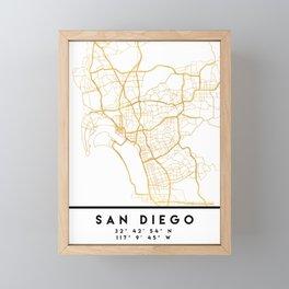 SAN DIEGO CALIFORNIA CITY STREET MAP ART Framed Mini Art Print