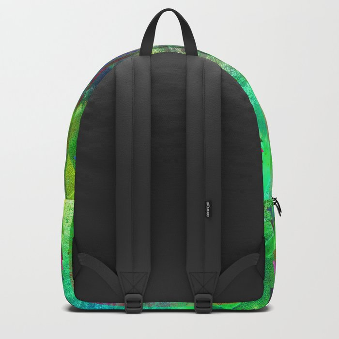 blue green pattern triangles Backpack