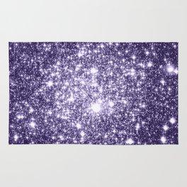 Dark Grape Purple Sparkle Stars Rug