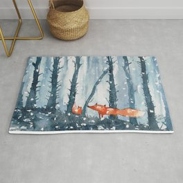 Foxes in forest Rug