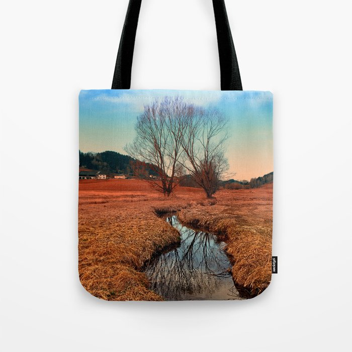 A stream, dry grass, reflections and trees | waterscape photography Tote Bag