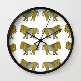 Lion Courage Watercolor Wall Clock