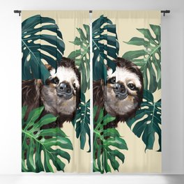 Sneaky Sloth with Monstera Blackout Curtain