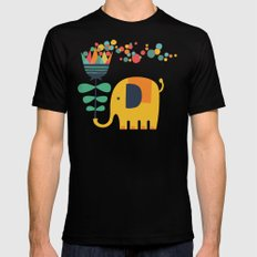 Elephant with giant flower Black Mens Fitted Tee MEDIUM