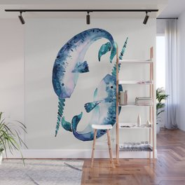 Blue Narwhals Wall Mural