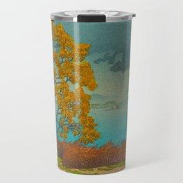 Vintage Japanese Woodblock Print Autumn Japanese Landscape Field Tall Tree Travel Mug