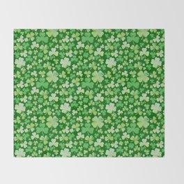 Lucky Green Watercolour Shamrock Pattern Throw Blanket