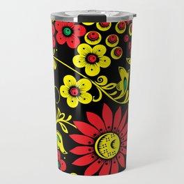 Black floral hohloma Travel Mug