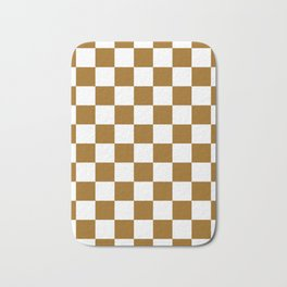 Checkered - White and Golden Brown Bath Mat