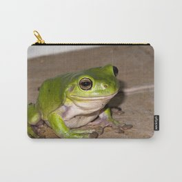 A beautiful green tree frog sitting on tiles Carry-All Pouch