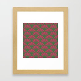 Kelly Green and Fuchsia Deco Fan Framed Art Print