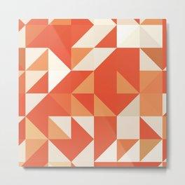 Decorative Orange Geometerical Pattern Metal Print