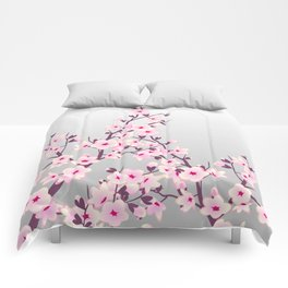 Cherry Blossoms Pink Gray Comforters
