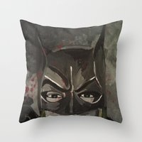 gotham Throw Pillows featuring Gotham Vixen by Paintings That Pop