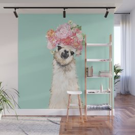 Llama with Flowers Crown #3 Wall Mural