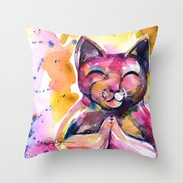 Buddha Cat No. 11 Throw Pillow