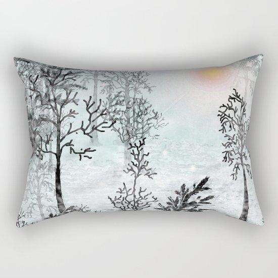 Winter in the woods . Rectangular Pillow