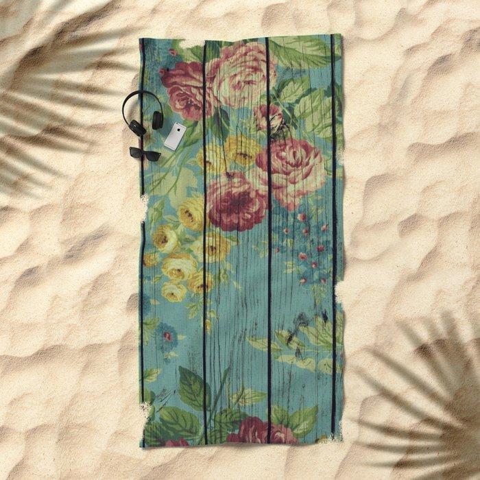 Flowers on Wood 08 Beach Towel