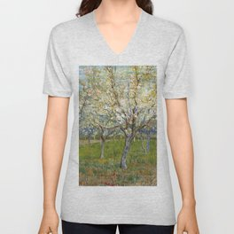 Orchard with Blossoming Apricot Trees by Vincent van Gogh Unisex V-Neck