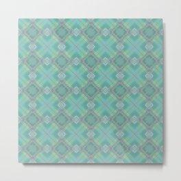 Blue green plaid . Metal Print