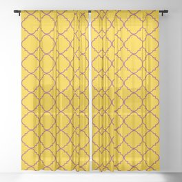 Barbed Quatrefoil Yellow and Tangerine Pattern Sheer Curtain