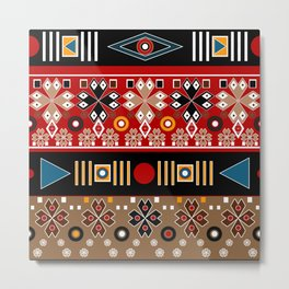 African ethno tribal traditional patterns, oriental pattern, patchwork Metal Print