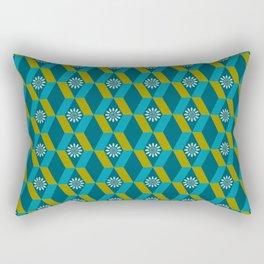 Mid Century Modern Flowers Optical Illusion Dark Teal Turquoise and Marigold Rectangular Pillow