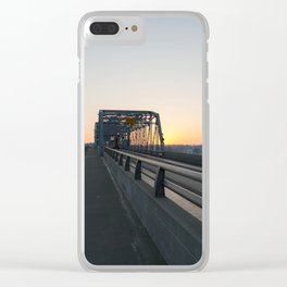 Valentine's bridge sunset Clear iPhone Case