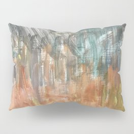 Peach to Pale Blue Abstract Painting Pillow Sham