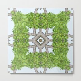Bark Leaves Stone Kaleidoscope Art 7 Metal Print