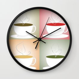 Tea Cups: Mate, Rooibos, Oolong, Matcha Wall Clock