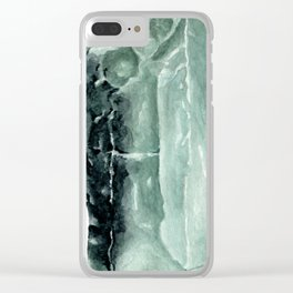 Green Calcite Crystal Watercolor Clear iPhone Case