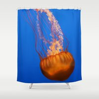 jelly fish Shower Curtains featuring Jelly by Jasmine Keyes