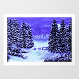 Moon Over The Mountain Art Print