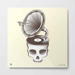 Tootin' Skull (Cream) Metal Print