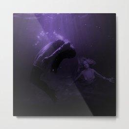 Mermaid Saves Drowning Victim in Purple Underwater Scene Metal Print