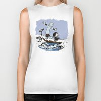 calvin and hobbes Biker Tanks featuring Jon and Hobbes beyond the wall by BovaArt