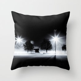 Football, Football Field, Sport, Autumn, Training, Floodlight, Fog, Black Throw Pillow