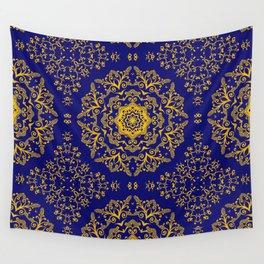 golden mandala pattern on the dark blue background Wall Tapestry