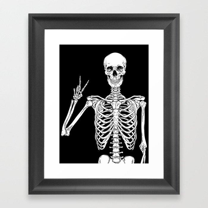 Human skeleton posing isolated over black background vector illustration Gerahmter Kunstdruck