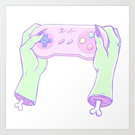 Zombie Gamer Girl Art Print