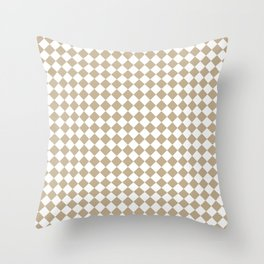Small Diamonds - White and Khaki Brown Throw Pillow