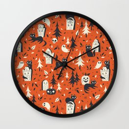 Cemetery Cuties (Orange) Wall Clock