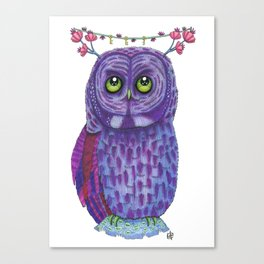 The Great Gray Purple Owl, A Key Holder And Protector Of The Mice Kingdom Canvas Print