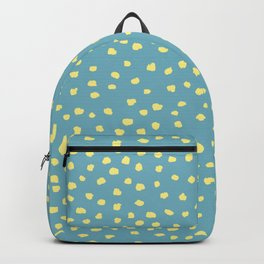 Polka Dots, basic Irregular, Blue Turquoise & Yellow_ abstract geometric art Backpack